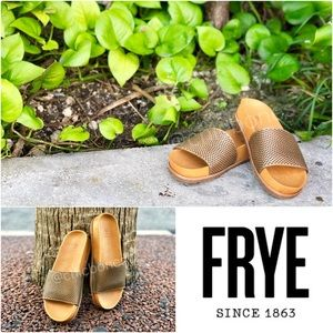 New FRYE Lily Perforated Leather Slides